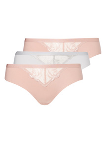 3 Pack Rose Embroidered Brazilian