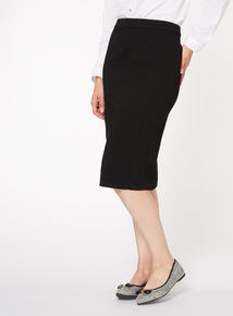 Black Ponte Textured Pencil Skirt