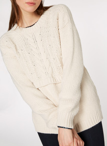 Cream Cable Knit Bobble Detail Jumper