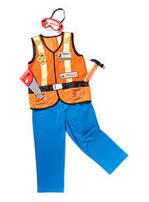 Orange Construction Worker Costume With Accessories (3-10 years)