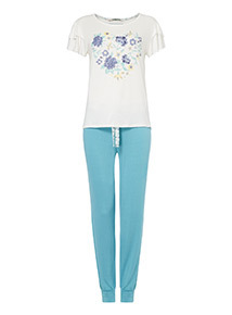 Floral Heart Print Pyjama Set