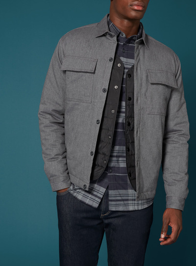 Premium Grey Quilted Heavy Flannel Overshirt