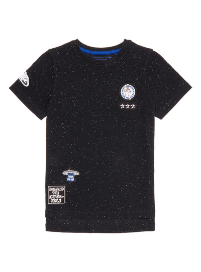 Black Nepped Space T-Shirt (3- 14 years)