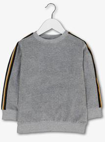 Grey Striped Sleeve Sweatshirt (3-14 Years)