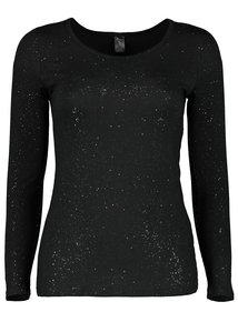 Black Sparkle Thermal Long Sleeve Top