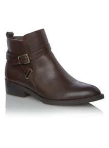 Brown Leather Equestrian Ankle Boots