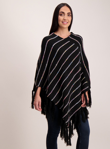 Black Poncho with Multicoloured Stripes