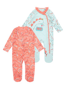 2 Pack Multicoloured Dino Sleepsuits (0-24 months)