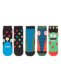 Boys Multicoloured Monster Socks 5 Pack