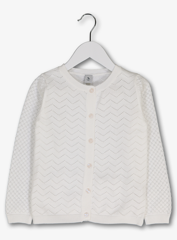 82a084c5cf Kids White Pointelle Cardigan (3-14 years)