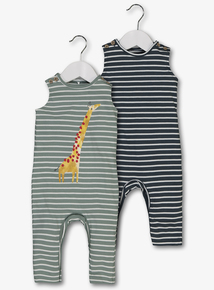 d1a8ec67445 Multicoloured Striped Giraffe Vest Rompers 2 Pack (0-24 Months)