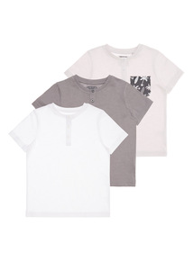 Plain Grandad Tees 3 Pack (9 months - 6 years)