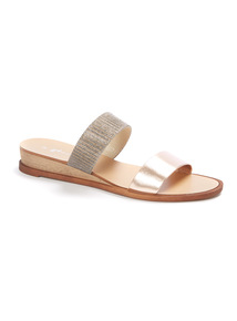 Online Exclusive Double Shimmer Strap Wedge Sandals