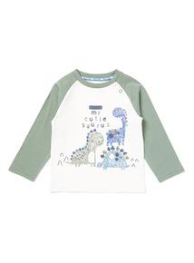 Green Dinosaur Printed Long Sleeve T-Shirt (0-24 months)