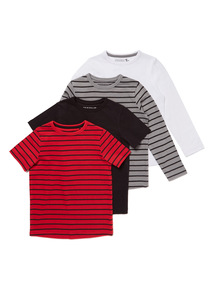 4 Pack Multicoloured Stripe T Shirts (3-14 years)
