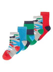 5 Pack Multicoloured Camo Socks (3-6.5)