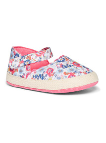 Pink Floral Espadrille Shoes (0-24 months)
