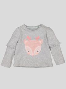Grey Deer Motif Long Sleeve T-Shirt (0-24 months)