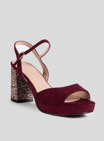 Online Exclusive Burgundy Glitter Block Heel Sandal