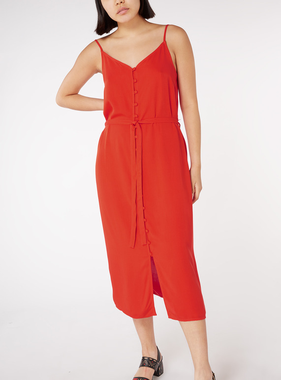 Online Exclusive Red Buttoned Cami Dress