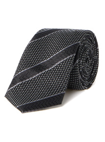 Black Club Stripe Slim Tie