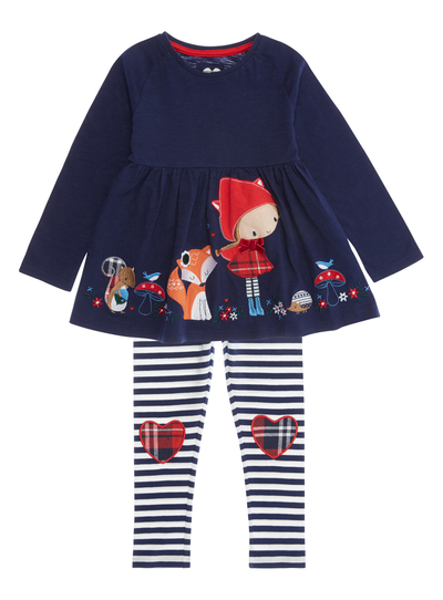 40be174149d0 Girls Navy Animal Pattern Dress with Leggings (9 months-5 years ...