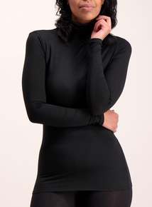 Black Thermal Heat Active Polo Neck Top