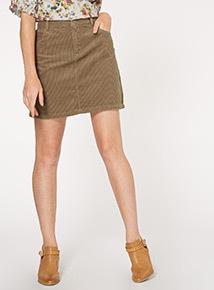 Khaki Corduroy Mini Skirt