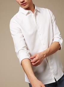 Premium White Slim Fit Textured Shirt With Stretch
