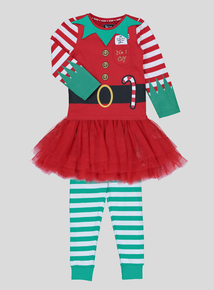 Christmas Multicoloured Elf Pyjamas (2-12 Years)