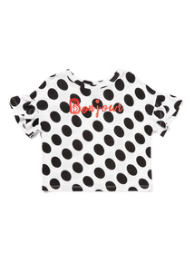 Multicoloured Spotty Bonjour T-Shirt (3-14 years)
