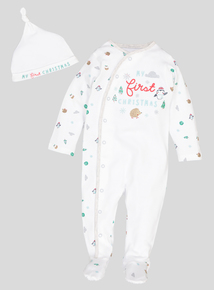 Christmas White Sleepsuit (0-12 Months)