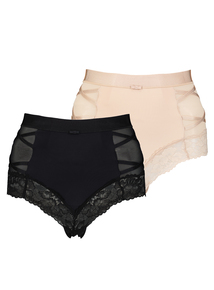 Black & Nude Lace Trim Secret Shaping Briefs 2 Pack