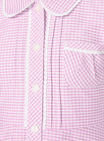 Pink Generous Fit Gingham Dress with Revere Collar (3-12 years)