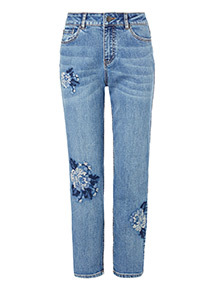 Floral Embroidered Girlfriend Jeans