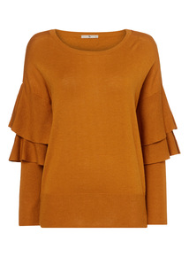Camel Tiered Sleeve Jumper