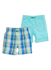 Boys Plain And Check Poplin Shorts 2 Pack (9 months - 6 years)