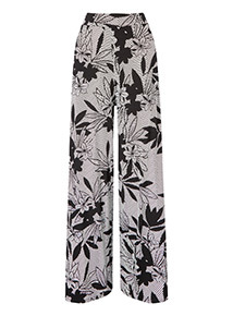 Floral Stripe Print Flared Trousers