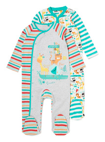 2 Pack Green Snap Happy Sleepsuits (Newborn-24 months)