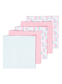 5 Pack Multicoloured Muslin Squares