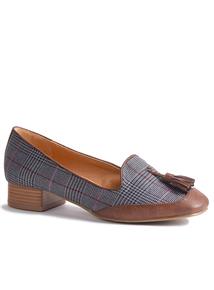 Sole Comfort Grey Check Tassel Slipper Cut Shoe