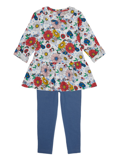 Multicoloured Floral Print Dress And Leggings Set (9 months - 6 years)
