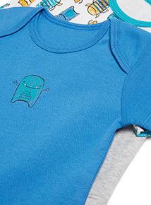 5 Pack Multicoloured Short Sleeve Bodysuits (Newborn - 36 months)