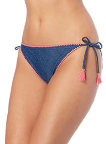Navy Denim Embroidered Tie Side Bikini Bottom