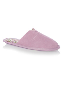 Lilac Suede Mule Slippers