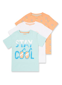 3 Pack Multicoloured Tropical T-shirts (9 months-6 years)