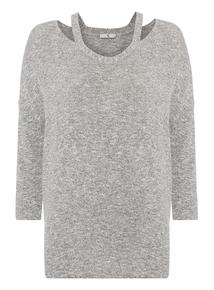 Grey Plain Cut And Sew Top