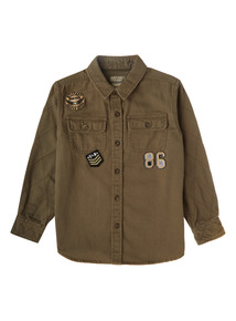 Boys Khaki Military Patch Shirt (3-12 years)