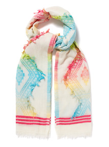 Multicoloured Tropical Print Jacquard Scarf