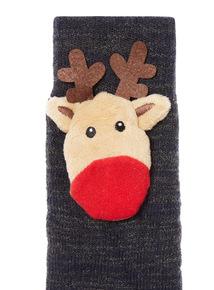 Navy Novelty Light Up Reindeer Slipper Socks
